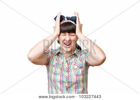 Woman Housewife Holds The Patient's Head On White Background.