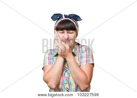 The Woman Is A Housewife In A Headscarf Is Suffering From A Toothache On White Background.
