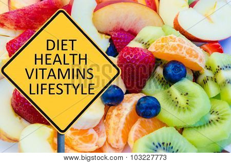 Yellow Roadsign With Message Diet, Health, Vitamins, Lifestyle