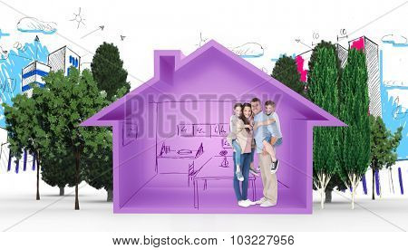 Parents giving piggyback ride to children over white background against house shape with kitchen sketch