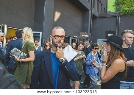 People Gather Outside Iceberg Fashion Show Building In Milan, Italy