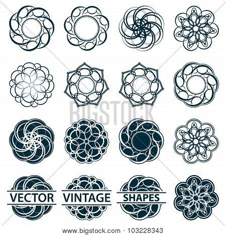 Set fractal and swirl shape element. Vintage monochrome differen