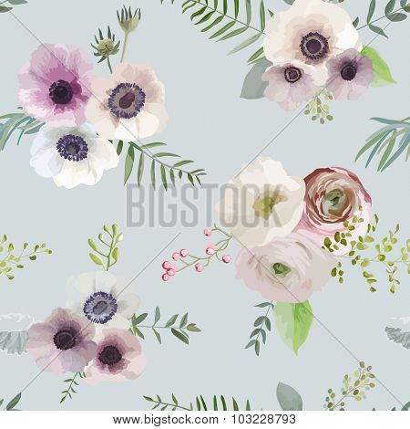 Vintage Floral Background - seamless pattern - in vector