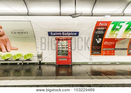 Subway Station  Saint-sulpice In Paris, France