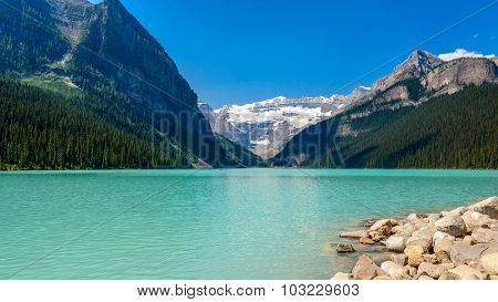 Majestic mountain lake in Canada. Lake Louise in Alberta, Canada.