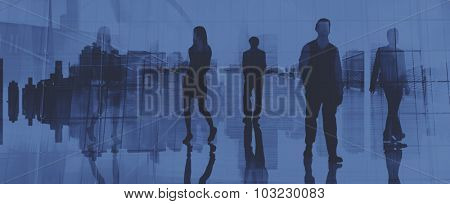 Business People Commuter Rush Hour Travel Concept