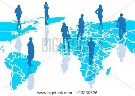 Silhouettes of people on the blue cartography.