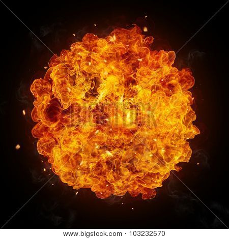 Hot fires flames in rounded shape, isolated on black background