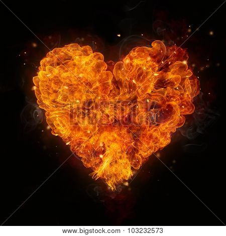 Hot fires flames in heart shape, isolated on black background