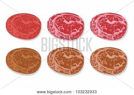 Set Of Detailed Slide Fresh Ham And Grilled Salami