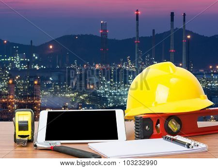 Working Table Engineer With Tablet And Tools