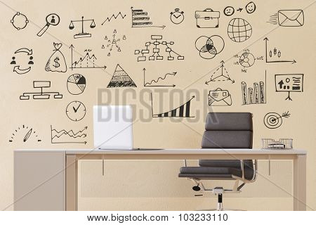 Office with laptop computer and business scribbles on the wall (3D Rendering)