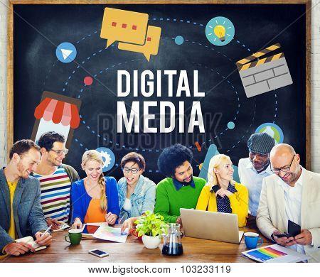 Digital Media Multimedia Networking Internet Concept