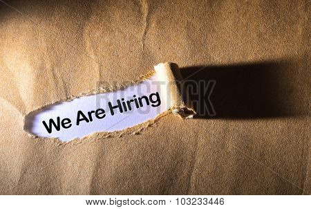 Torn Paper With Word We Are Hiring
