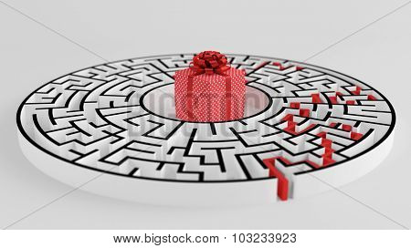 Red christmas gift in the middle of a circular maze (3D Rendering)