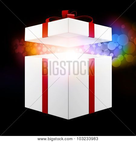 Colorful christmas gift owith open lid glowing (3D Rendering)