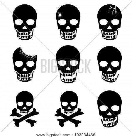 Set Of Skull And Crossbones Icon