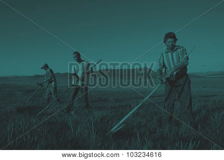 Mongolian Farmers Working Hard Agricultural Crop Concept