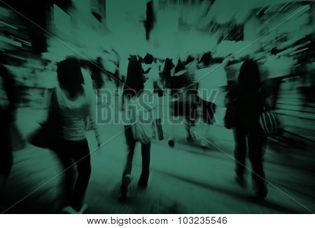 Pedestrians Walkway Crosswalk Crowded Consumerism Concept