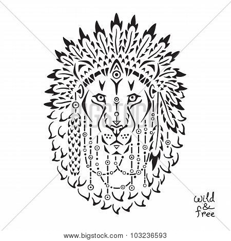 Lion in war bonnet, animal illustration, native american poster, t-shirt design