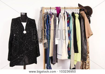 Wardrobe With Winter Clothes Arranged On Hangers And A Festive Sparkly Outfit On A Mannequin.