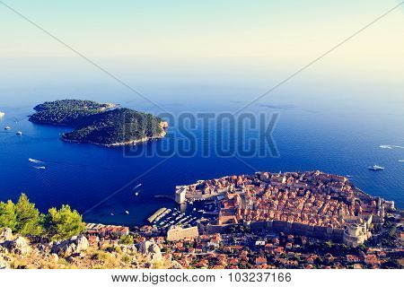 Dubrovnik Old Town in Croatia, aerial view