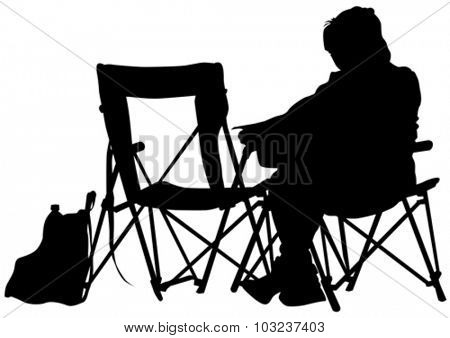 Girl on a chair during a picnic on a white background