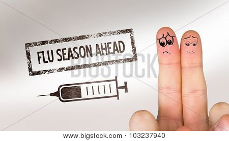 Sad fingers against flu shot message