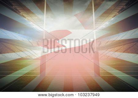 Waving Tonga flag against linear design