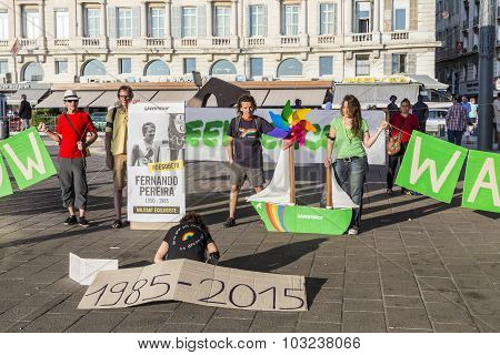Greenpeace Organisation Protests Against Murder Of Fernando Pereira