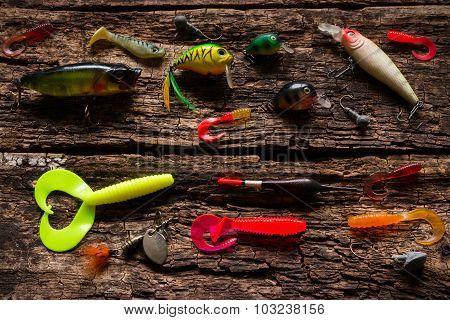 Bait Fishing On The Wooden Background