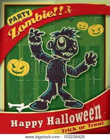Vintage Halloween poster design with zombie