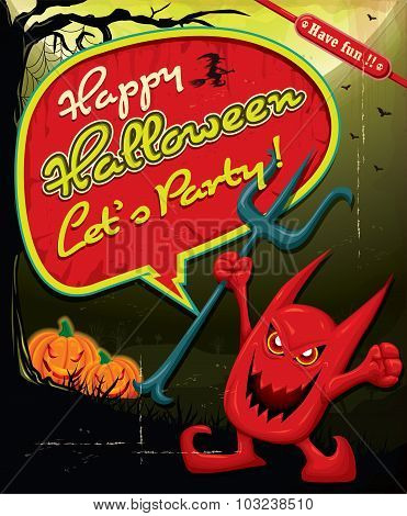 Vintage Halloween poster design with demon character