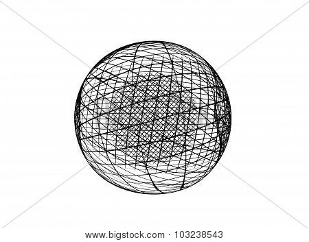Abstract black fractal globe on white background