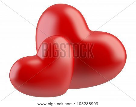Two Red Hearts Isolated On A White.