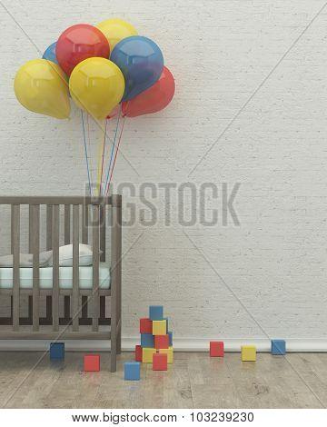 Kids Room Interior 3D Render Image, Bed, Balloons