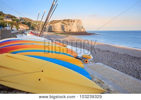 Morning view of Etretat beach, France