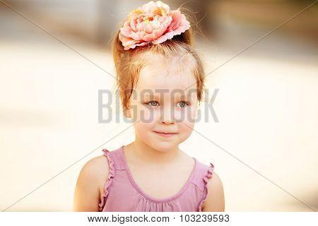 Portrait Of An Adorable Preschool Age Girl.