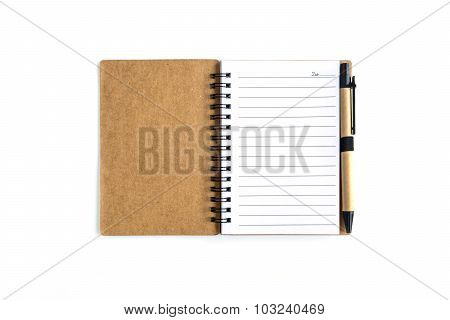Blank Spiral Notebook Isolated On White