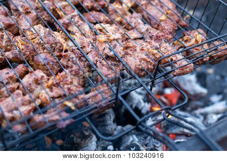 Beef Shahlik Bbq Cooking