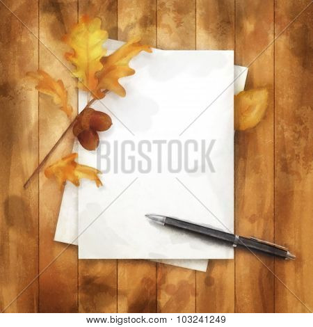 Autumn Watercolor Painting Background