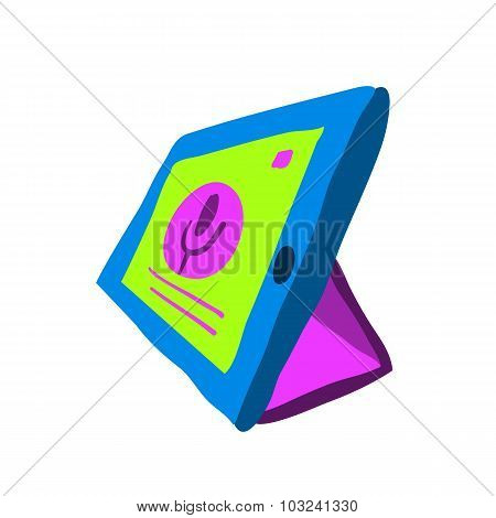 Cartoon tablet pc flat icon.