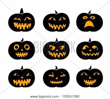 Set Of Black Silhouette Pumpkins With Eyeball