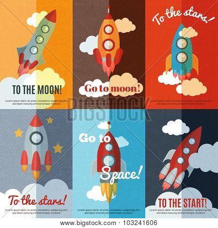 Vintage rocket flat banners composition poster