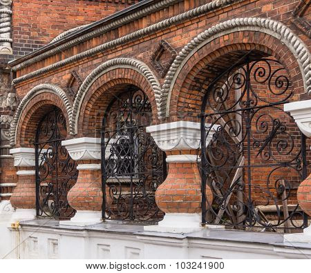 brick architectural detail on street in Yaroslavl, Russia