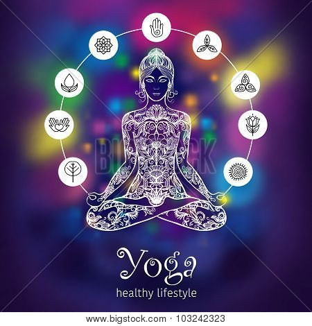 Yoga lotus meditating woman color banner