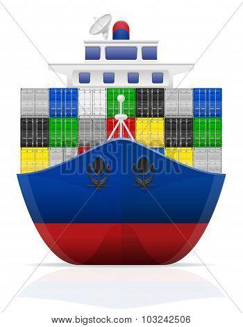 Nautical Cargo Ship Vector Illustration