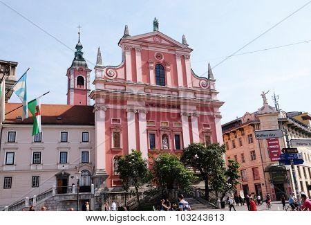 LJUBLJANA, SLOVENIA - JUNE 30: Franciscan Church of the Annunciation on Preseren Square in Ljubljana, Slovenia on June 30, 2015