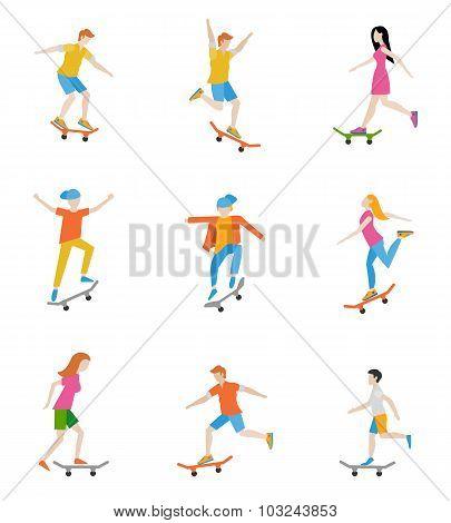 Skateboard characters set.