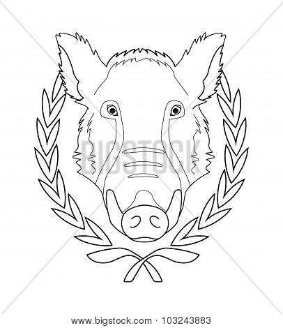 Boar head in laurel wreath. Contour